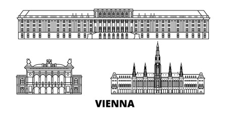 Austria, Vienna line travel skyline set. Austria, Vienna outline city vector panorama, illustration, travel sights, landmarks, streets. Ilustração