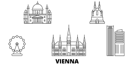 Austria, Vienna City line travel skyline set. Austria, Vienna City outline city vector panorama, illustration, travel sights, landmarks, streets.