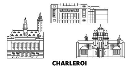 Belgique, Charleroi line travel skyline set. Belgique, Charleroi contours panorama vectoriel de la ville, illustration, sites touristiques, monuments, rues.