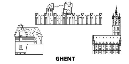Belgium, Ghent line travel skyline set. Belgium, Ghent outline city vector panorama, illustration, travel sights, landmarks, streets.