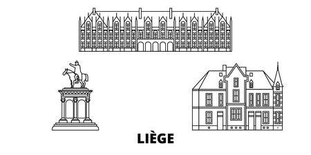 Belgien, Lüttich Linie Reise-Skyline-Set. Belgien, Lüttich skizzieren Stadtvektorpanorama, Illustration, Reisesehenswürdigkeiten, Sehenswürdigkeiten, Straßen.