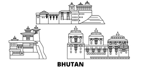 Bhutan line travel skyline set. Bhutan outline city vector panorama, illustration, travel sights, landmarks, streets. Foto de archivo - 120565308