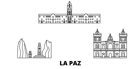Bolivia , La Paz line travel skyline set. Bolivia , La Paz outline city vector panorama, illustration, travel sights, landmarks, streets. Иллюстрация