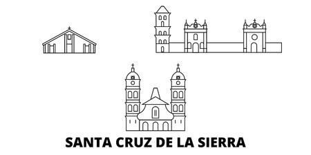 Bolivia, Santa Cruz De La Sierra, la línea del horizonte de viaje. Bolivia, Santa Cruz De La Sierra esquema panorama vectorial de la ciudad, ilustración, lugares turísticos, monumentos, calles.