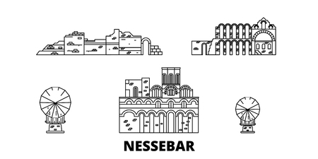 Bulgaria, Nessebar line travel skyline set. Bulgaria, Nessebar outline city vector panorama, illustration, travel sights, landmarks, streets.