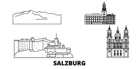 Autriche, ligne d'horizon de voyage de Salzbourg. Autriche, Salzbourg contours ville panorama vectoriel, illustration, sites touristiques, monuments, rues.