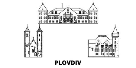 Bulgaria, Plovdiv line travel skyline set. Bulgaria, Plovdiv outline city vector panorama, illustration, travel sights, landmarks, streets. Illustration