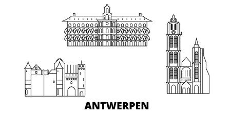 Belgium, Antwerpen line travel skyline set. Belgium, Antwerpen outline city vector panorama, illustration, travel sights, landmarks, streets. Illustration