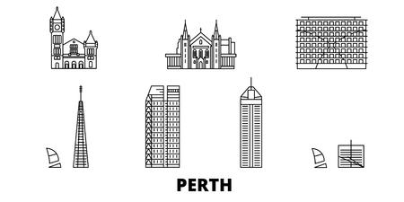 Australia, Perth line travel skyline set. Australia, Perth outline city vector panorama, illustration, travel sights, landmarks, streets.