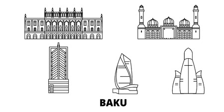 Azerbaijan, Baku line travel skyline set. Azerbaijan, Baku outline city vector panorama, illustration, travel sights, landmarks, streets.