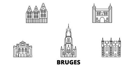 Belgium, Bruges line travel skyline set. Belgium, Bruges outline city vector panorama, illustration, travel sights, landmarks, streets.