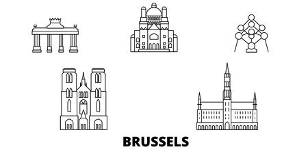 Bélgica, Bruselas, la línea del horizonte de viaje. Bélgica, Bruselas esquema panorama vectorial de la ciudad, ilustración, lugares turísticos, monumentos, calles.