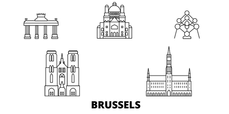 Belgium, Brussels line travel skyline set. Belgium, Brussels outline city vector panorama, illustration, travel sights, landmarks, streets.
