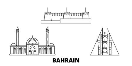 Ensemble d'horizon de voyage en ligne de Bahreïn. Panorama vectoriel de la ville de Bahreïn, illustration, sites touristiques, monuments, rues.