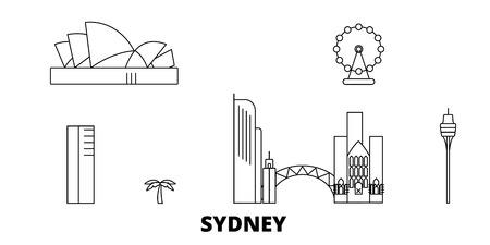 Australia, Sydney City line travel skyline set. Australia, Sydney City outline city vector panorama, illustration, travel sights, landmarks, streets. Illustration