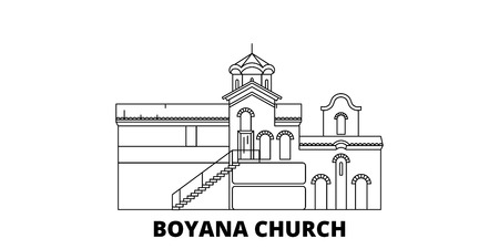 Bulgaria, Sofia, Boyana Church line travel skyline set. Bulgaria, Sofia, Boyana Church outline city vector panorama, illustration, travel sights, landmarks, streets.