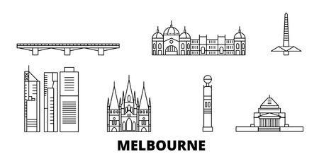 Australia, Melbourne line travel skyline set. Australia, Melbourne outline city vector panorama, illustration, travel sights, landmarks, streets.
