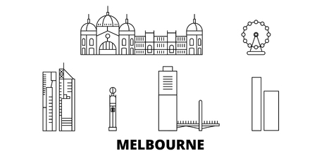 Australia, Melbourne City line travel skyline set. Australia, Melbourne City outline city vector panorama, illustration, travel sights, landmarks, streets. Reklamní fotografie - 123962672