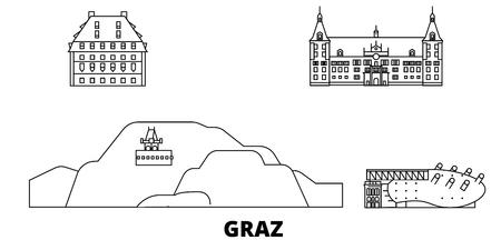 Austria, Graz line travel skyline set. Austria, Graz outline city vector panorama, illustration, travel sights, landmarks, streets.  イラスト・ベクター素材