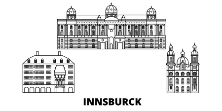 Austria, Innsburck line travel skyline set. Austria, Innsburck outline city vector panorama, illustration, travel sights, landmarks, streets. Illusztráció