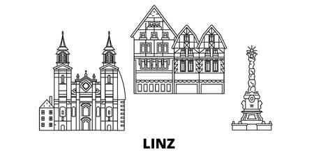 Österreich, Linz Linie Reisen Skyline Set. Österreich, Linz umreißen Stadtvektorpanorama, Illustration, Reisesehenswürdigkeiten, Sehenswürdigkeiten, Straßen.