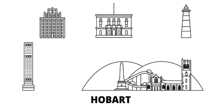 Australia, Hobart line travel skyline set. Australia, Hobart outline city vector panorama, illustration, travel sights, landmarks, streets.