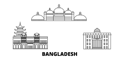 Bangladesh, Chittagong line travel skyline set. Bangladesh, Chittagong outline city vector panorama, illustration, travel sights, landmarks, streets. Reklamní fotografie - 123962674