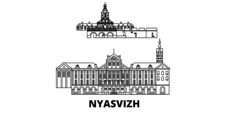 Belarus, Nyasvizh line travel skyline set. Belarus, Nyasvizh outline city vector panorama, illustration, travel sights, landmarks, streets.