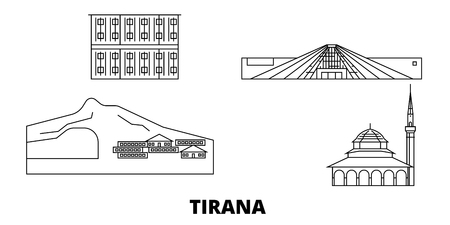 Albania, Tirana line travel skyline set. Albania, Tirana outline city vector panorama, illustration, travel sights, landmarks, streets. Çizim