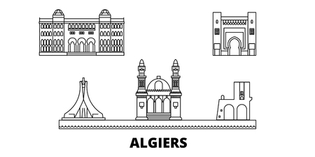 Algiers line travel skyline set. Algiers outline city vector panorama, illustration, travel sights, landmarks, streets.
