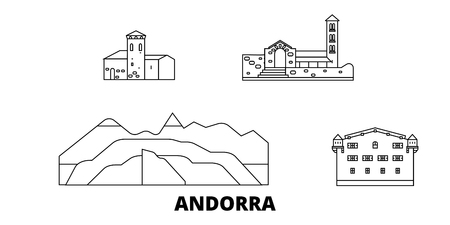 Andorra line travel skyline set. Andorra outline city vector panorama, illustration, travel sights, landmarks, streets.