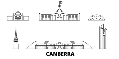 Australia, Canberra line travel skyline set. Australia, Canberra outline city vector panorama, illustration, travel sights, landmarks, streets.