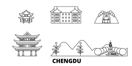 China, Chengdu line travel skyline set. China, Chengdu outline city vector panorama, illustration, travel sights, landmarks, streets. Illusztráció