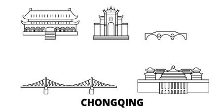 China, Chongqing line travel skyline set. China, Chongqing outline city vector panorama, illustration, travel sights, landmarks, streets. Standard-Bild - 123962678