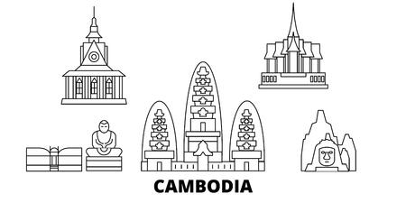 Ensemble d'horizon de voyage en ligne au Cambodge. Le Cambodge décrit le panorama vectoriel de la ville, l'illustration, les sites touristiques, les monuments, les rues.