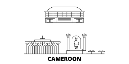 Cameroon line travel skyline set. Cameroon outline city vector panorama, illustration, travel sights, landmarks, streets.