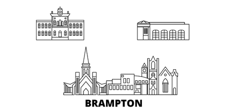 Canada, Brampton line travel skyline set. Canada, Brampton outline city vector panorama, illustration, travel sights, landmarks, streets.  イラスト・ベクター素材