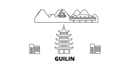 China, Guilin line travel skyline set. China, Guilin outline city vector panorama, illustration, travel sights, landmarks, streets. Illustration