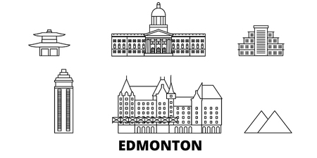 Canada, Edmonton line travel skyline set. Canada, Edmonton outline city vector panorama, illustration, travel sights, landmarks, streets.