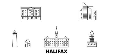 Canada, Halifax line travel skyline set. Canada, Halifax contour vectoriel panorama de la ville, illustration, sites touristiques, monuments, rues. Vecteurs