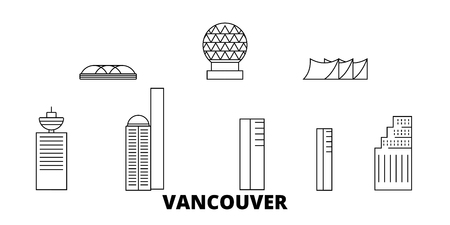 Canada, Vancouver City line travel skyline set. Canada, Vancouver City outline city vector panorama, illustration, travel sights, landmarks, streets.