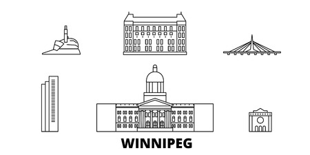 Canada, Winnipeg line travel skyline set. Canada, Winnipeg outline city vector panorama, illustration, travel sights, landmarks, streets. Reklamní fotografie - 123962684