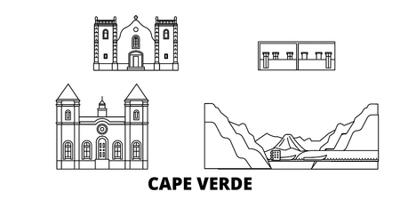 Cape Verde line travel skyline set. Cape Verde outline city vector panorama, illustration, travel sights, landmarks, streets. Ilustrace