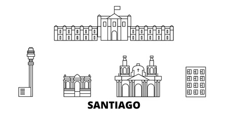 Chile, Santiago line travel skyline set. Chile, Santiago outline city vector panorama, illustration, travel sights, landmarks, streets.