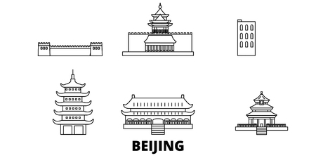 China, Beijing line travel skyline set. China, Beijing outline city vector panorama, illustration, travel sights, landmarks, streets.