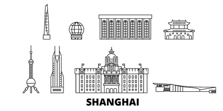 China, Shanghai line travel skyline set. China, Shanghai outline city vector panorama, illustration, travel sights, landmarks, streets.