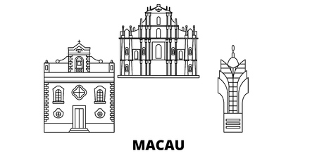 China, Macau line travel skyline set. China, Macau outline city vector panorama, illustration, travel sights, landmarks, streets. Ilustração