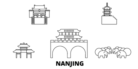 China, Nanjing line travel skyline set. China, Nanjing outline city vector panorama, illustration, travel sights, landmarks, streets.
