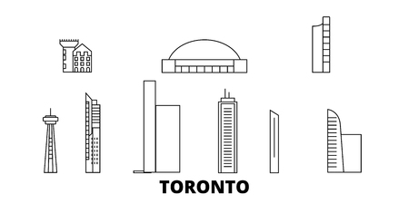 Canada, Toronto City line travel skyline set. Canada, Toronto City outline city vector panorama, illustration, travel sights, landmarks, streets. Reklamní fotografie - 123962688