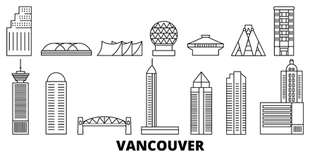 Canada, Vancouver line travel skyline set. Canada, Vancouver outline city vector panorama, illustration, travel sights, landmarks, streets.